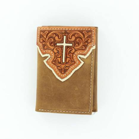 Nocona Mens Trifold with Overlay Cross