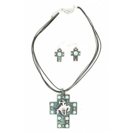 Blazin Roxx Cross /Bucking Horse Necklace and Earrings Set