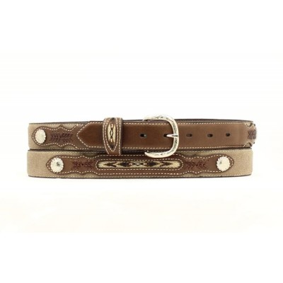 Nocona Youth Fabric Inset Concho Belt - Medium Brown Distressed - 18