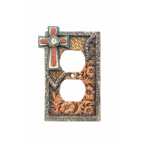 Western Moments Cross Double Outlet Plate