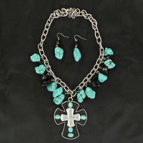 Blazin Roxx Large Cross and Bead Necklace & Earring Set
