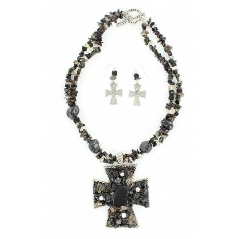 Blazin Roxx Stone Cross Necklace and Earrings Set