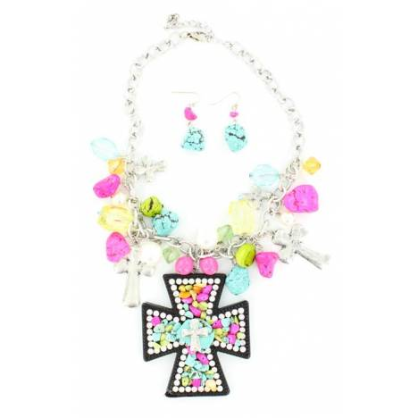 Blazin Roxx Stone and Crystal Cross Necklace