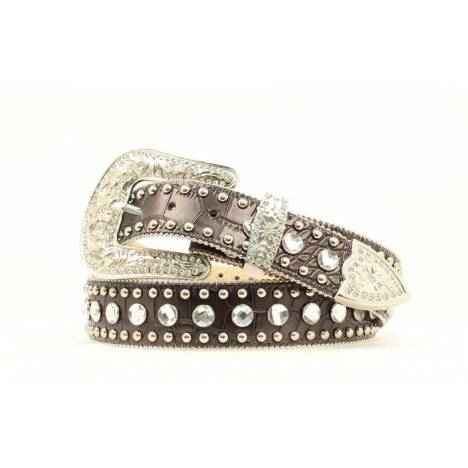 Blazin Roxx Ladies Croc Print with Ball & Nail Heads Belt
