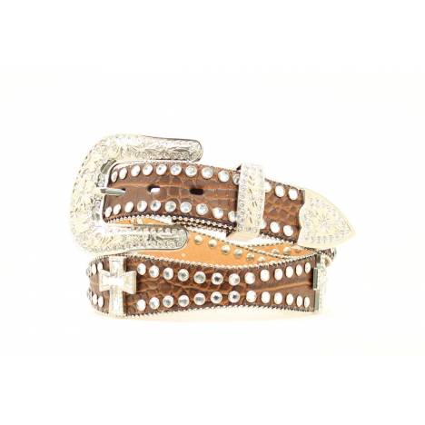 Blazin Roxx Ladies Scallop Crystal Cross Concho Belt