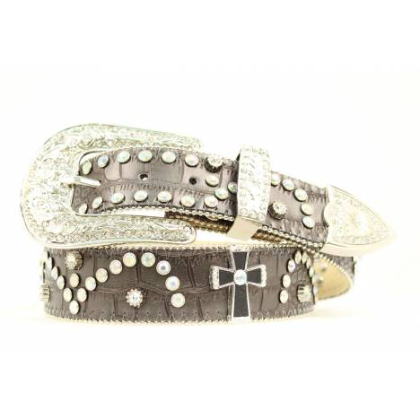 Nocona Ladies Croco Cross & Bling Belt
