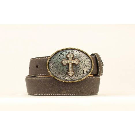 Nocona Girls Belt with Rhinestone Cross Buckle