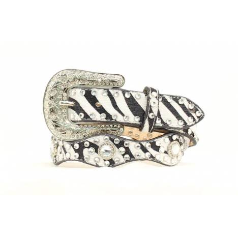 Nocona YouthZebra Scallop with Crystals Belt
