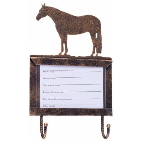 Tough-1 Deluxe Stall Card Holder with Hooks - Quarter Horse