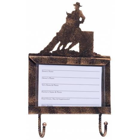 Tough-1 Deluxe Stall Card Holder with Hooks - Barrel Racer