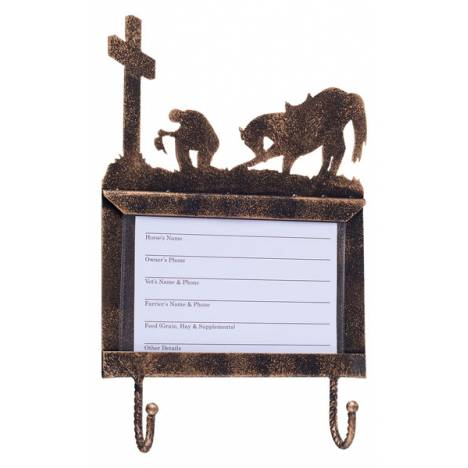 Tough-1 Deluxe Stall Card Holder with Hooks - Western Cross