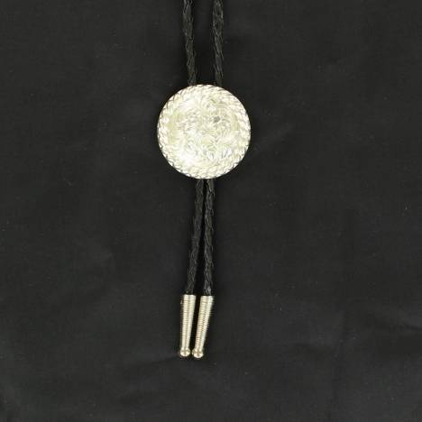 Double S Round Bolo Tie with Rope Edge
