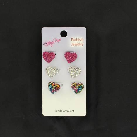 Blazin Roxx Girls 3pc Hearts Earrings Set