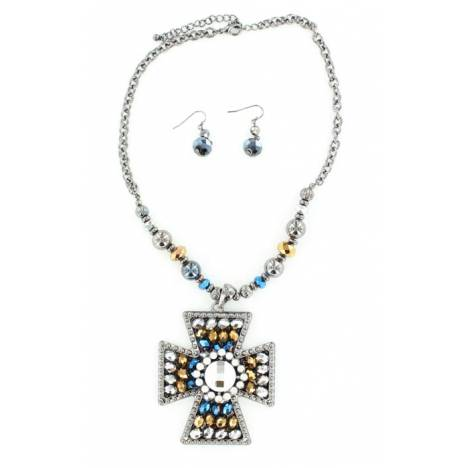 Blazin Roxx Diamond Maltese Cross Necklace Set