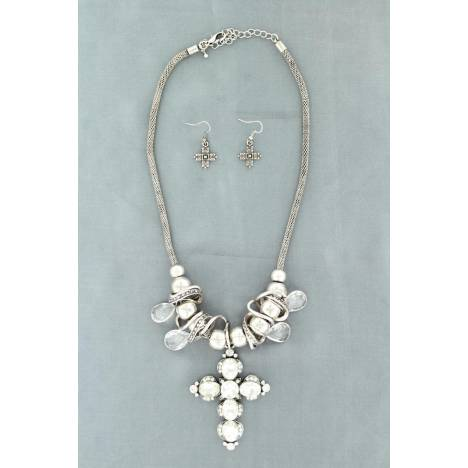 Blazin Roxx Crystal Cross/ball Necklace Set