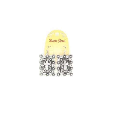 Blazin Roxx Square Cross Berry Concho Earrings