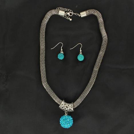 Blazin Roxx Large Round Charm Necklace & Earrings Set