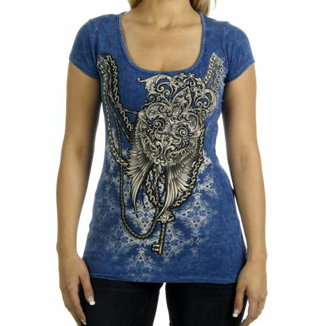 Liberty Wear Ladies Denim Wash Wings & Chains Shirt