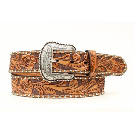 Nocona Mens Hide Conchos/Stud Tooled Belt