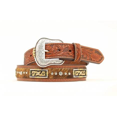 Nocona Calf Hair Inlay Rectangle Concho Tooled Belt