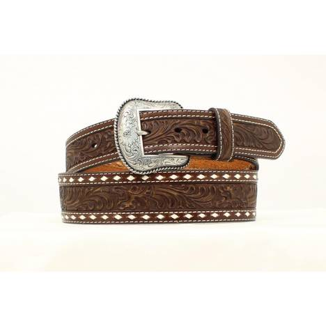 Nocona Mens Tooled Tapered Belt with Stitching