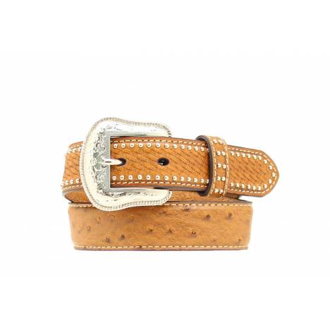 Nocona Boys Leather Ostrich Basketweave Belt