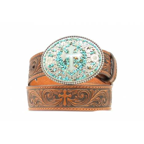 Nocona Girls Tooled Belt with Cross Buckle