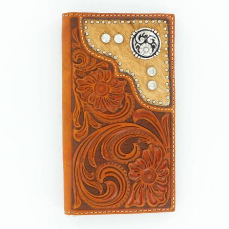Nocona Rodeo Tooled Floral Hair & Concho Wallet