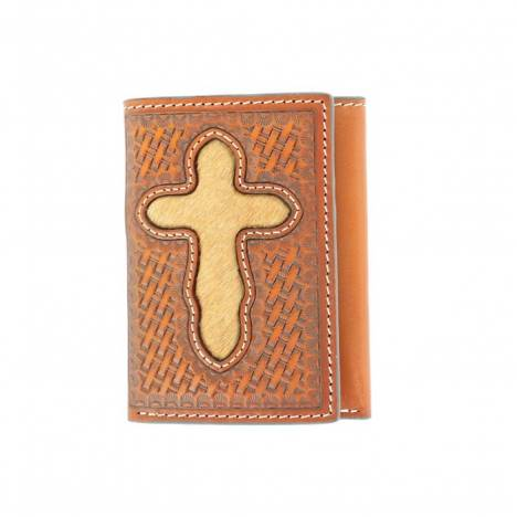Nocona Pro Tri-fold Hair Cross Tooled Wallet