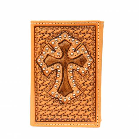 Nocona Tri-fold Basketweave Hair Cross Wallet