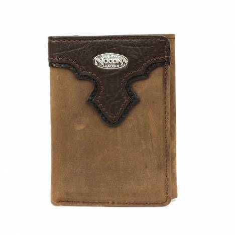 Nocona Tri-fold Distressed Overlay Wallet with Logo Concho