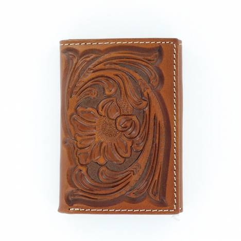 Nocona Trifold Floral Tooled Wallet