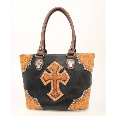 Blazin Roxx Tooled Cross Tote Handbag