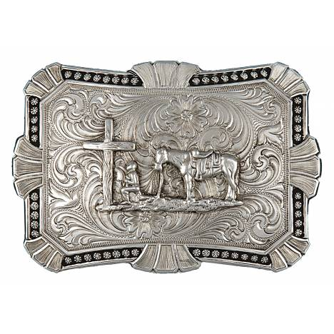 Montana Silversmiths Antiqued Trailblazer Buckle with Christian Cowboy