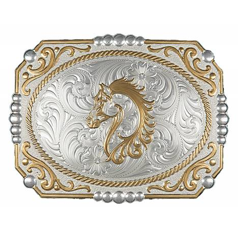 Montana Silversmiths Two-tone Cowboy Cameo Buckle with Filigree Horse Figure