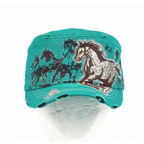 Vintage Cadet Style Cap with Rhinestone Galloping Horse