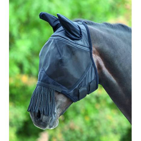 Shires Fine Mesh Fly Mask With Ears & Fringe