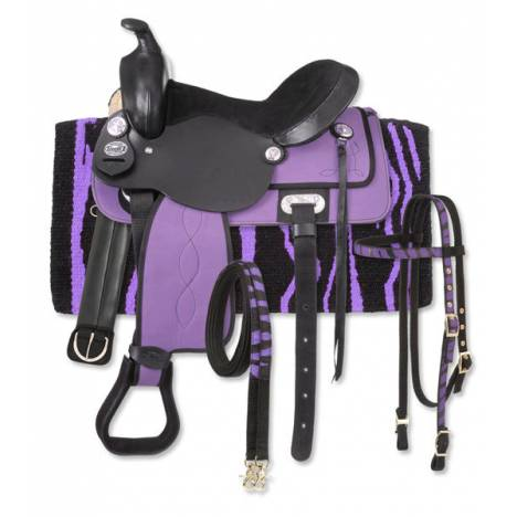 Tough-1 Krypton Western Youth Saddle with Zebra Package