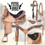 Silver Royal Pistol Annie Barrel Saddle with  Brown Alligator Overlay Package