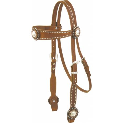 Cowboy Pro Flared Browband & Conchos Headstall