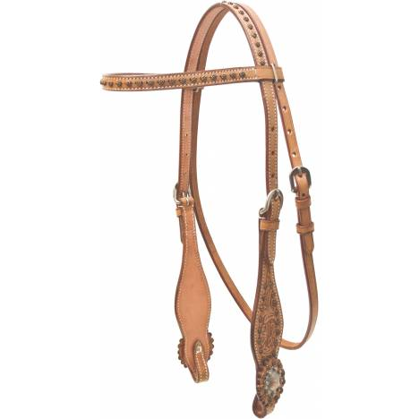 Cowboy Pro Floral Tooled Brow Headstall With Copper Concho