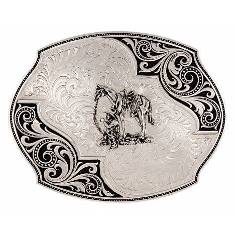 Montana Silversmiths Western Lace Whisper Flourish Buckle With Cowboy And Horse
