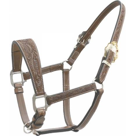 Billy Cook Saddlery Oak Leaf Tooled Show Halter with Wide Noseband