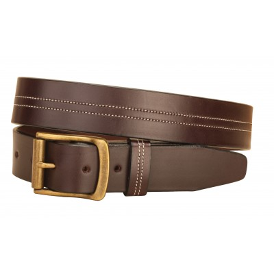 Tory Leather Center Stitched Double Row Leather Belt - Havana - 30