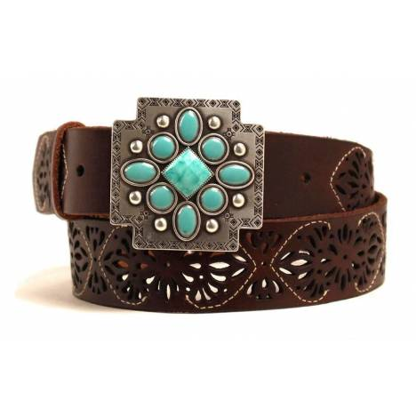 ARIAT Accessories Ladies Cutout Leather Belt With Cross Buckle