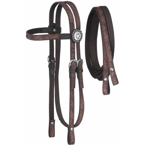 Tough-1 Dot & Print Browband Headstall/Rein Set - Tooled Leather