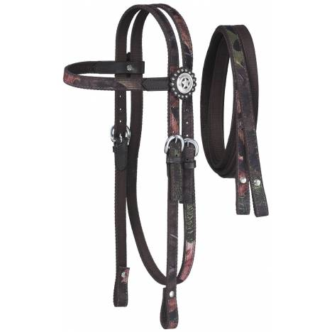 Tough-1 Dot & Print Browband Headstall/Rein Set - Tough Timber