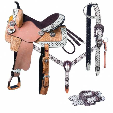 Silver Royal Arizona Belt Buckle Bling Barrel Saddle 5-Piece Package