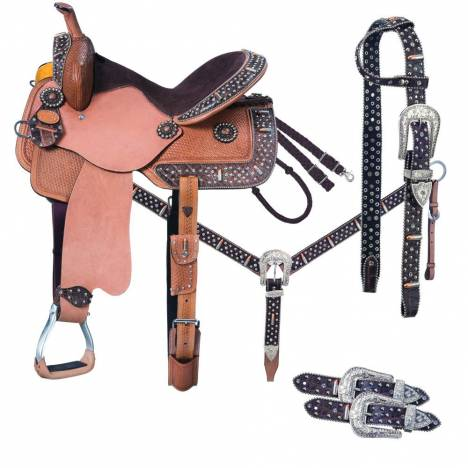 Silver Royal Remington Belt Buckle Bling Barrel Saddle 5-Piece Package
