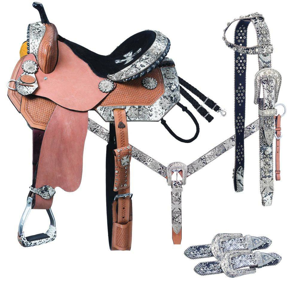 Silver Royal Greyson Belt Buckle Bling Barrel Saddle 5-Piece Package